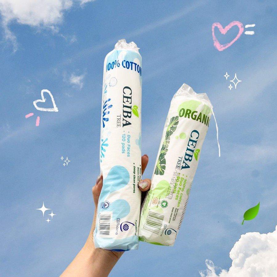 Bông Tẩy Trang 100% Cotton  Ceiba Tree Organic Cotton Pads 120 Miếng