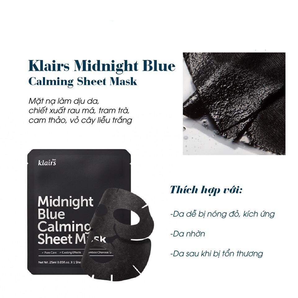 Mặt Nạ Klairs Midnight Blue Calming Sheet Mask 25ml