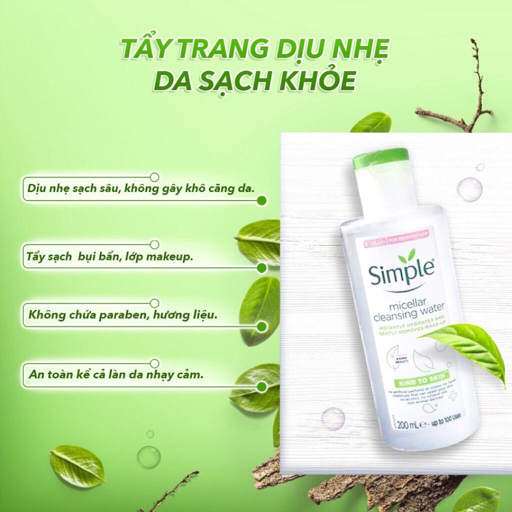 COMBO Làm Sạch Simple Tẩy Trang + Sữa Rửa Mặt + Nước Hoa Hồng