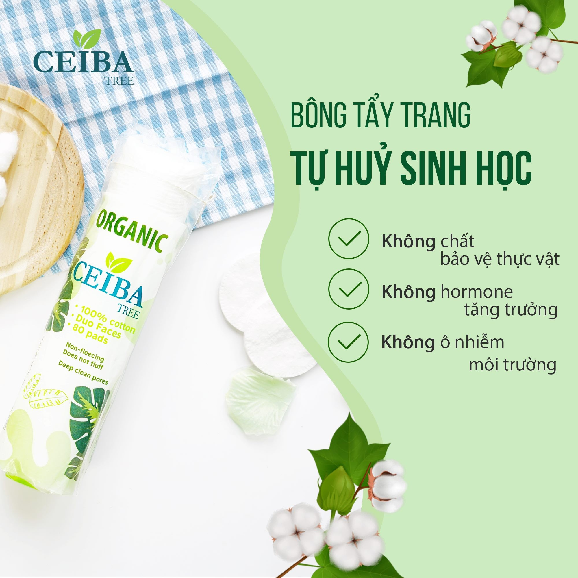 [MUA 2 TẶNG 1] Bông Tẩy Trang Ceiba Tree Organic Cotton Pads 80m