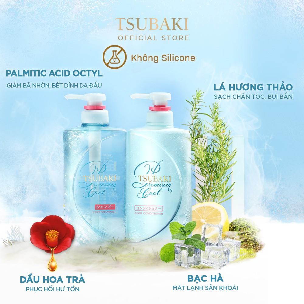 Bộ Gội Xả Tsubaki Premium Cool Sạch Dầu Mát Lạnh (490mlx2)