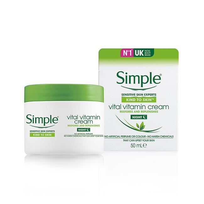 Kem Dưỡng Ẩm Cho Da Ban Đêm Simple Vital Vitamin Night Cream 50Ml