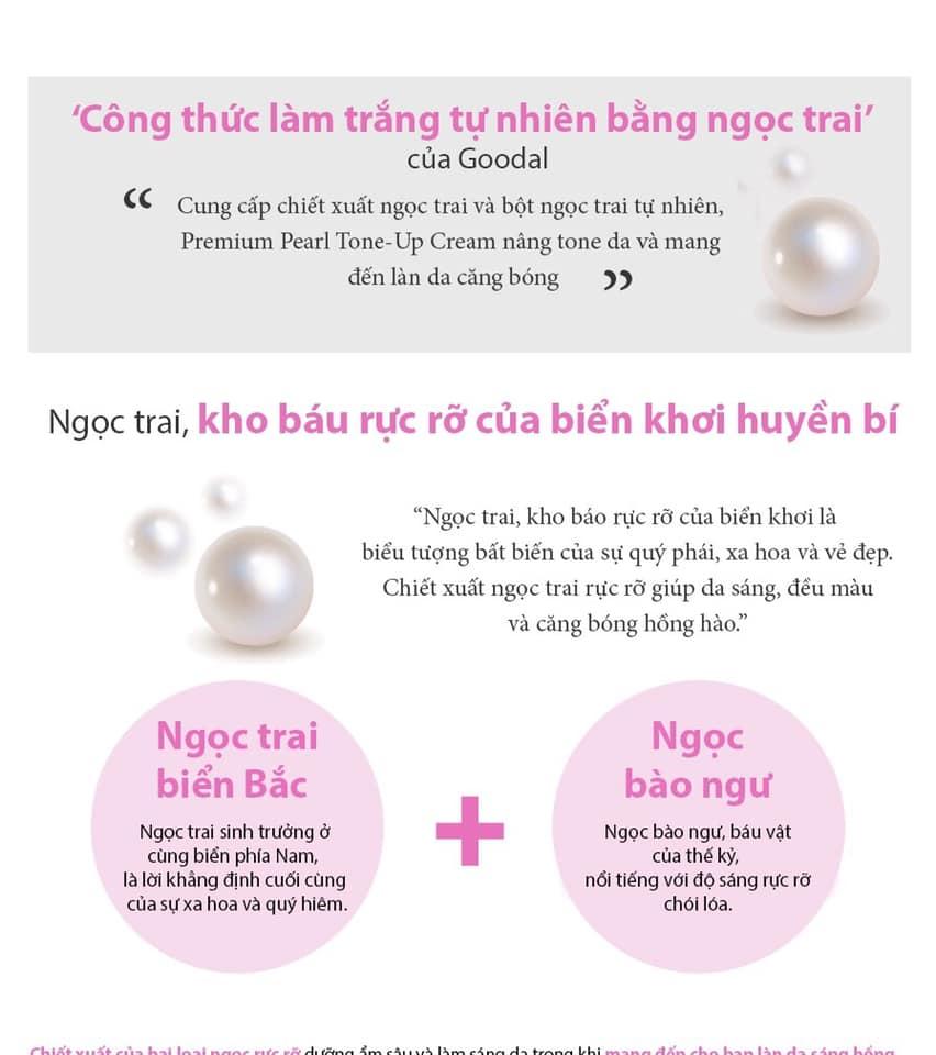 Kem dưỡng da Premium Pearl Tone - Up Cream Goodal