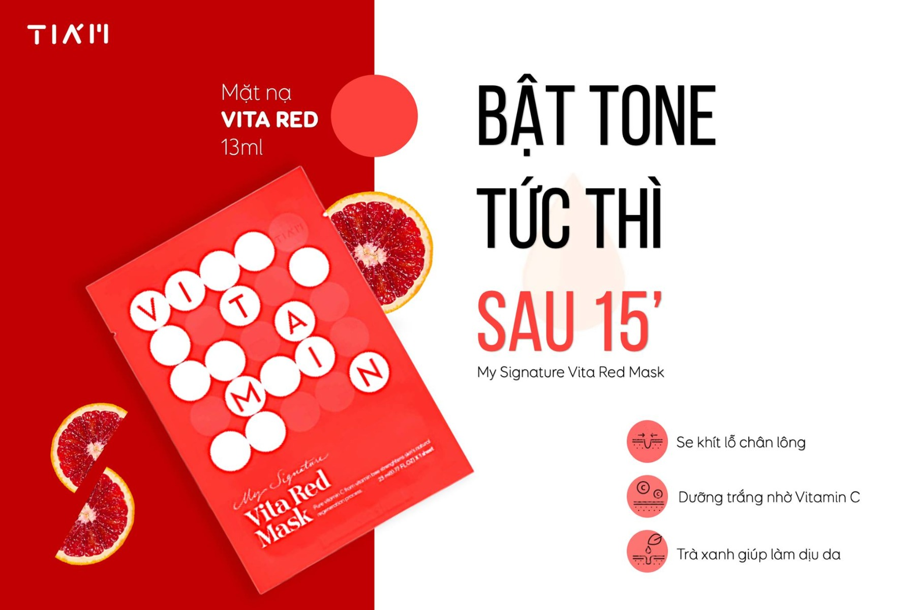 Mặt Nạ Vitamin C Dưỡng Trắng Tiam My Signature Vita Red Mask 23ml