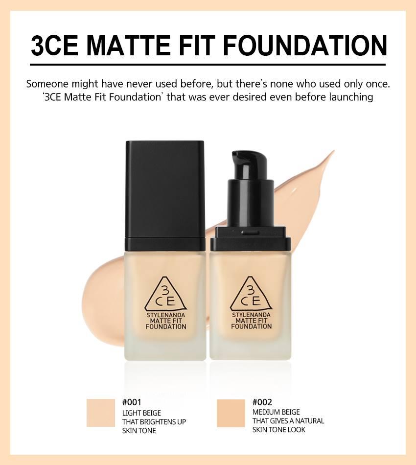 Kem Nền 3CE Stylenada Matte Fit Foundation #001