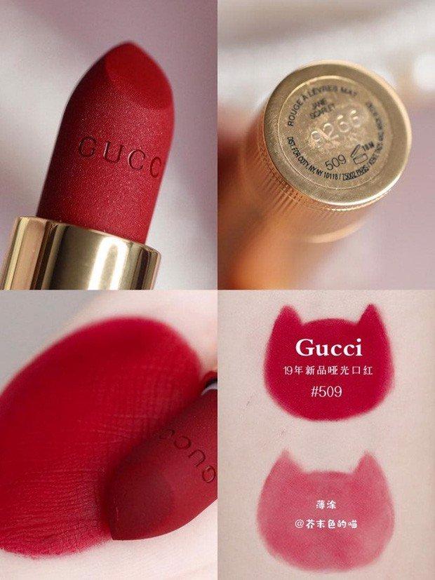 Son Gucci Rouge À Lèvres Voile Mat #509 Janie Scarlet