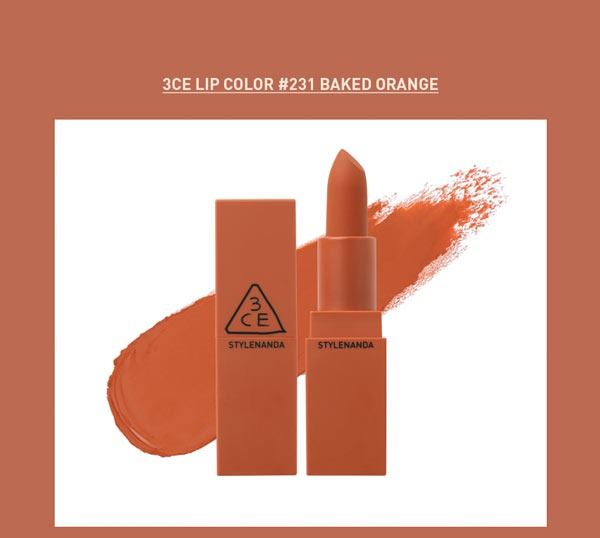 Son 3CE Matte Lip Color #231 Baked Orange
