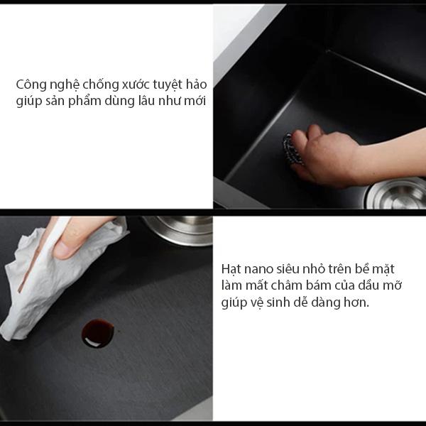 bồn chậu rửa bát inox 304 chống xước, chịu mài mòn