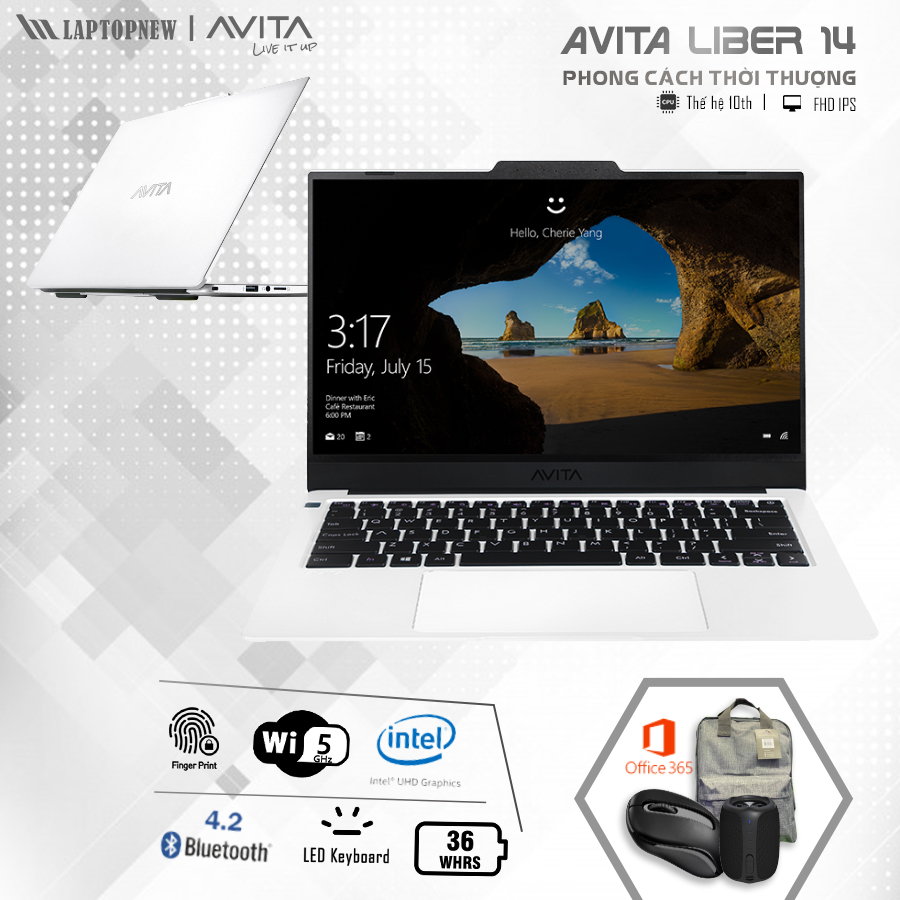 Laptopnew - AVITA LIBER 14 NS14A8VNR571-PWB (Pearl White) khuyến mãi quà tặng