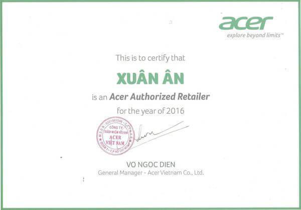 Chứng nhận đại lý uỷ quyền Acer Việt Nam