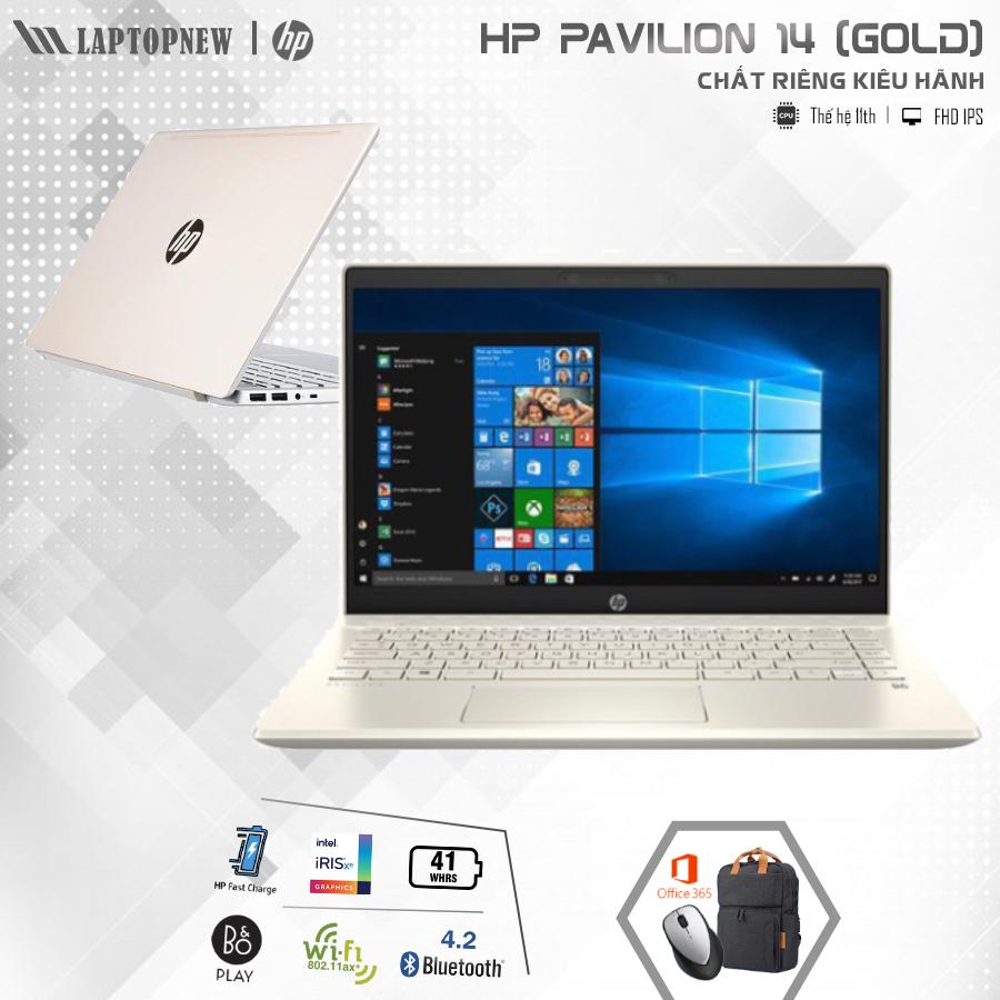 LAPTOP HP Pavilion 14 dv0008TU (Gold) | i5-1135G7 Gen 11th | 8GB DDR4 | SSD 512GB PCIe | VGA Onboard | 14.1 FHD IPS | Win10 + Office. -- Hàng Chính Hãng, Deal Giá --