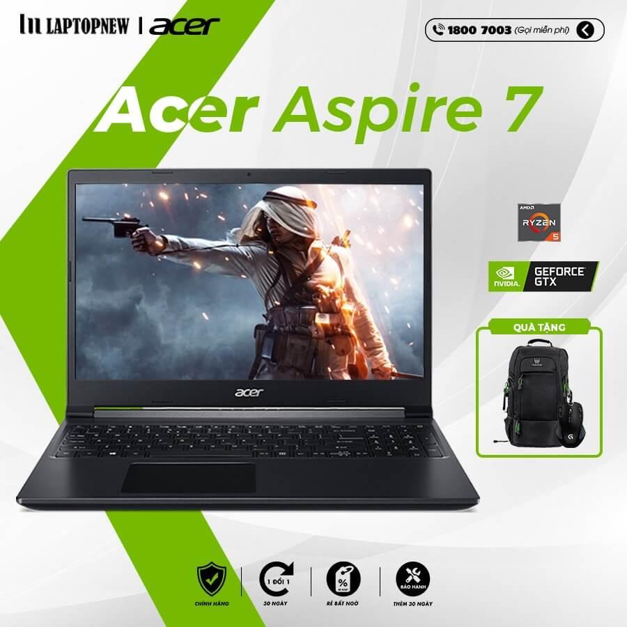 Laptop Acer Aspire 7 A715-42G-R4ST (Black) | R5-5500U | 8GB DDR4 | SSD 256GB PCIe | VGA GTX 1650 4GB | 15.6 FHD IPS | Win10.