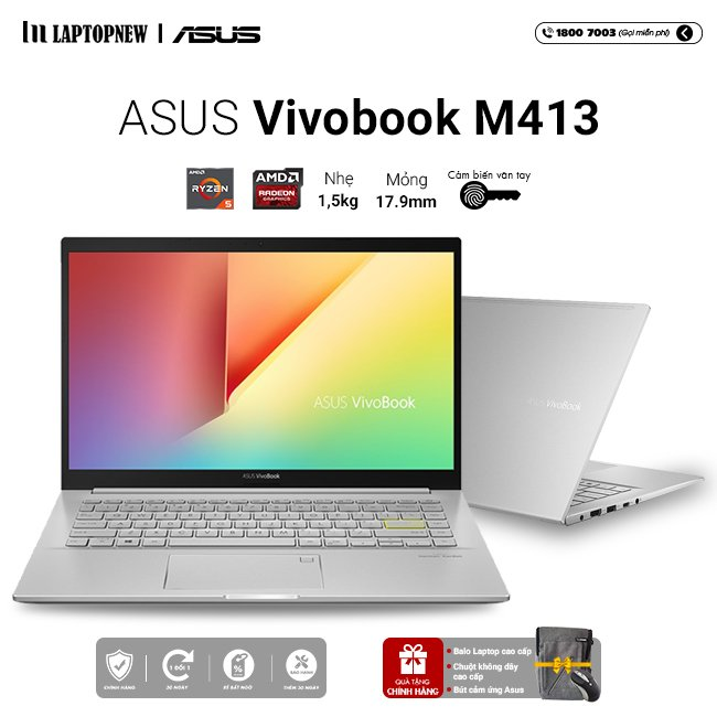 Laptop Asus Vivobook M413IA EK338T khuyến mãi quà tặng