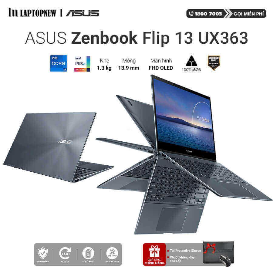 Laptopnew - ASUS Zenbook Flip UX363EA - HP130T (Gray) khuyến mãi quà tặng