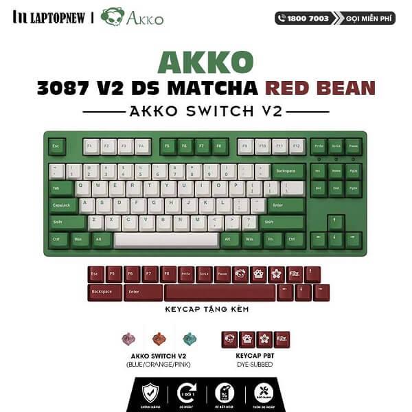 Laptopnew - Keyboard Mechancial AKKO 3087 V2 DS Matcha Red Bean - thumnail