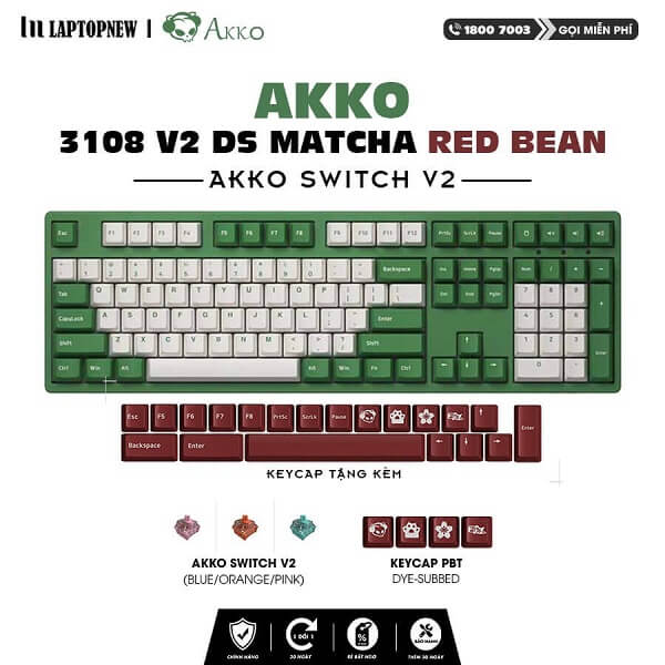 Laptopnew - Keyboard Mechancial AKKO 3108 V2 DS Matcha Red Bean - thumnail