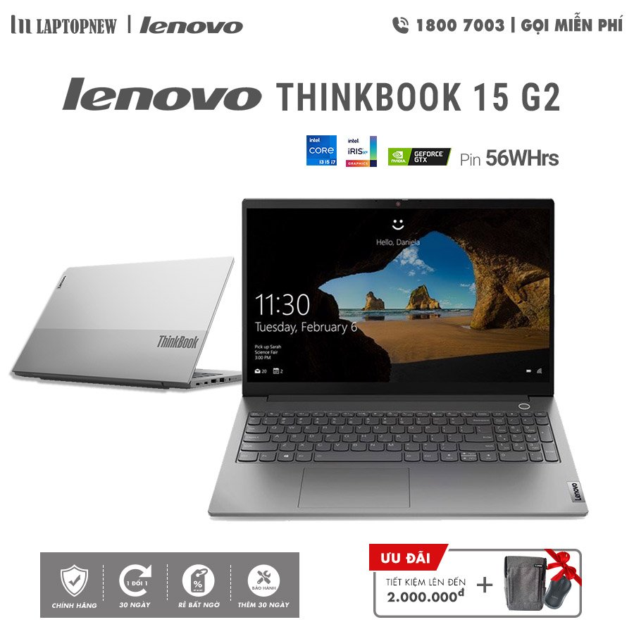 LAPTOP LENOVO THINKBOOK 15 G2 - 20VE0040NVN (Silver) | i7-1165G7 Gen 11th | 8GB DDR4 | SSD 512GB PCIe | VGA MX450 2GB | 15.6 FHD IPS | Win10.