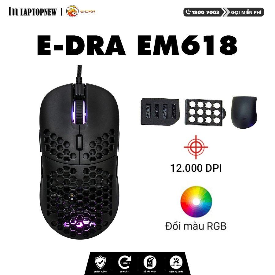 E-Dra - Mouse Gaming E-dra EM618 with RGB led, 12400 DPI.