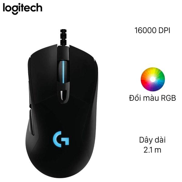 Logitech - Mouse Gaming Logitech G403 Hero with RGB led, 25.600 DPI (Black). Hàng Chính hãng