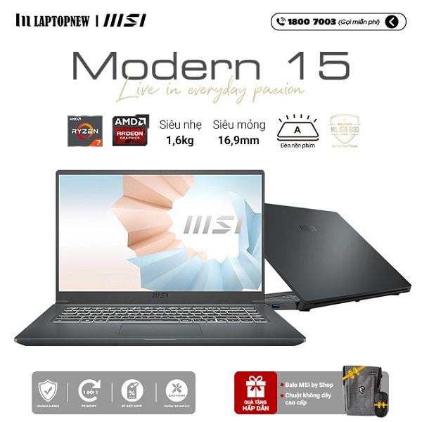 Laptop MSI Modern 15 A5M 048VN khuyến mãi