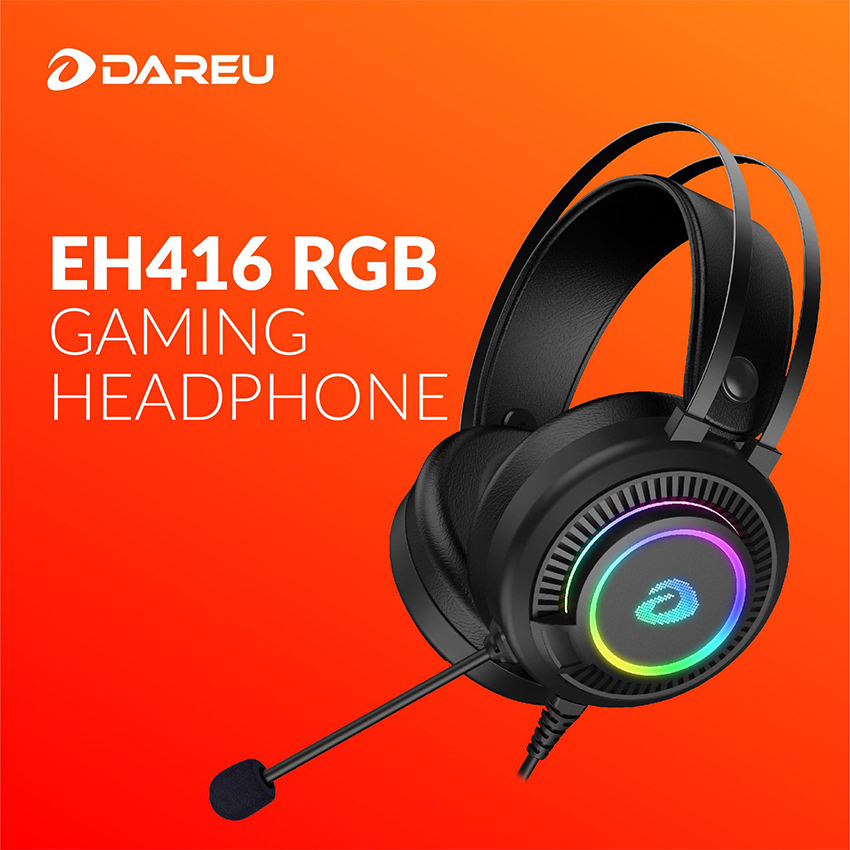 DAREU - Headset Gaming EH416 with RGB led, OverEar (Black)