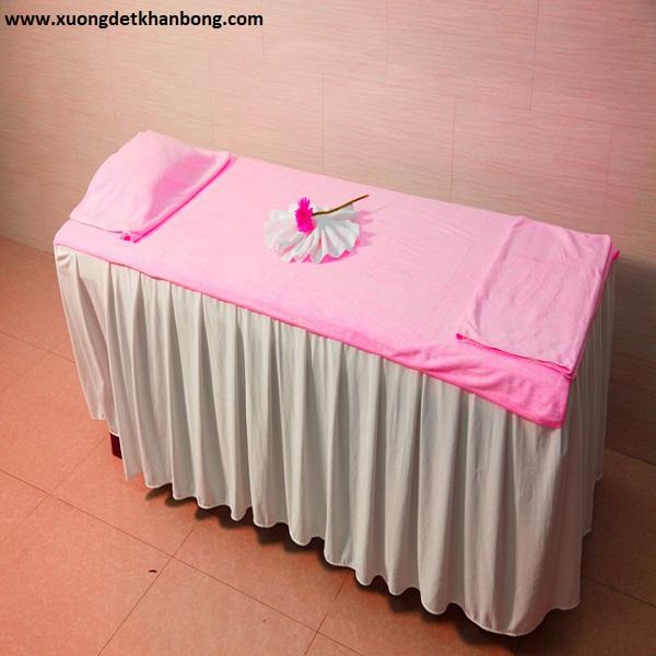 Khăn trải giường spa màu hồng (Mẫu 1)