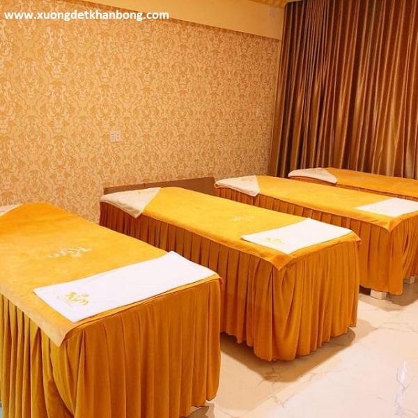 Khăn trải giường Spa mầu vàng bò (Mẫu 1)