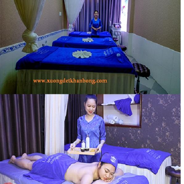 Khăn trải giường spa  màu xanh Blu