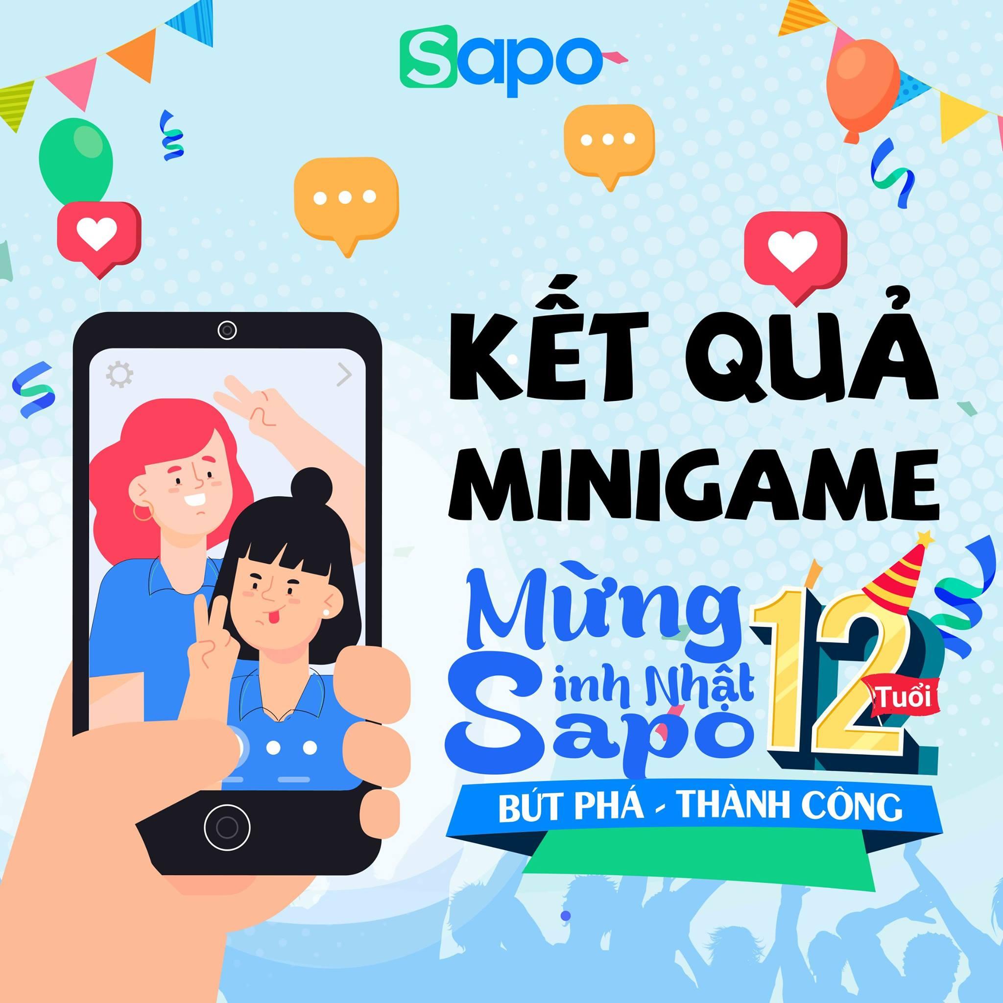 Kết quả Minigame: Chúc sinh nhật Sapo - Nhận ngay lô quà tặng.