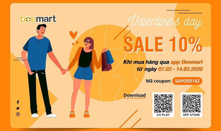 Beemart: Sale off lên đến 10% khi mua quà valentine qua App