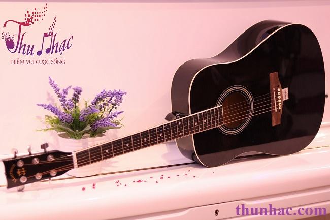 (Guitar Acoustic Morrisonmàu đen bóng)