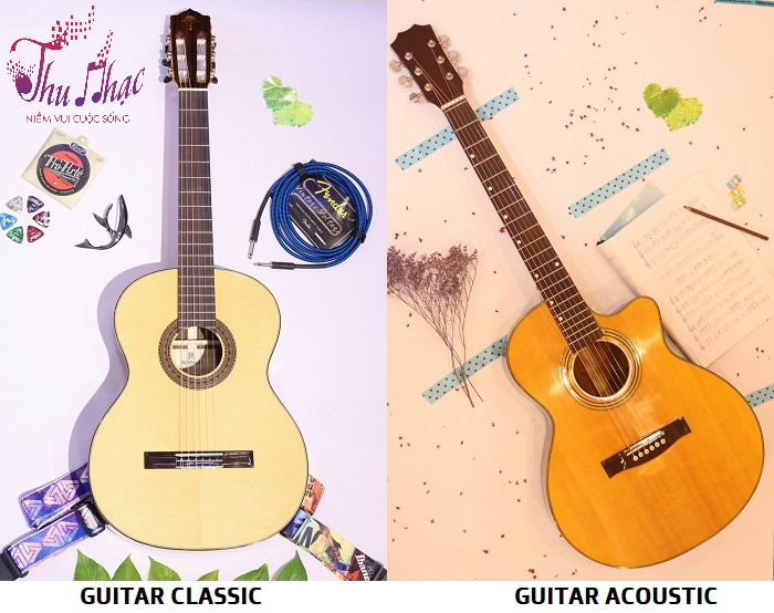 CÁCH PHÂN BIỆT ĐÀN GUITAR CLASSIC VÀ ĐÀN GUITAR ACOUSTIC   TP.HCM Guitar-classic-guitar-acoustic