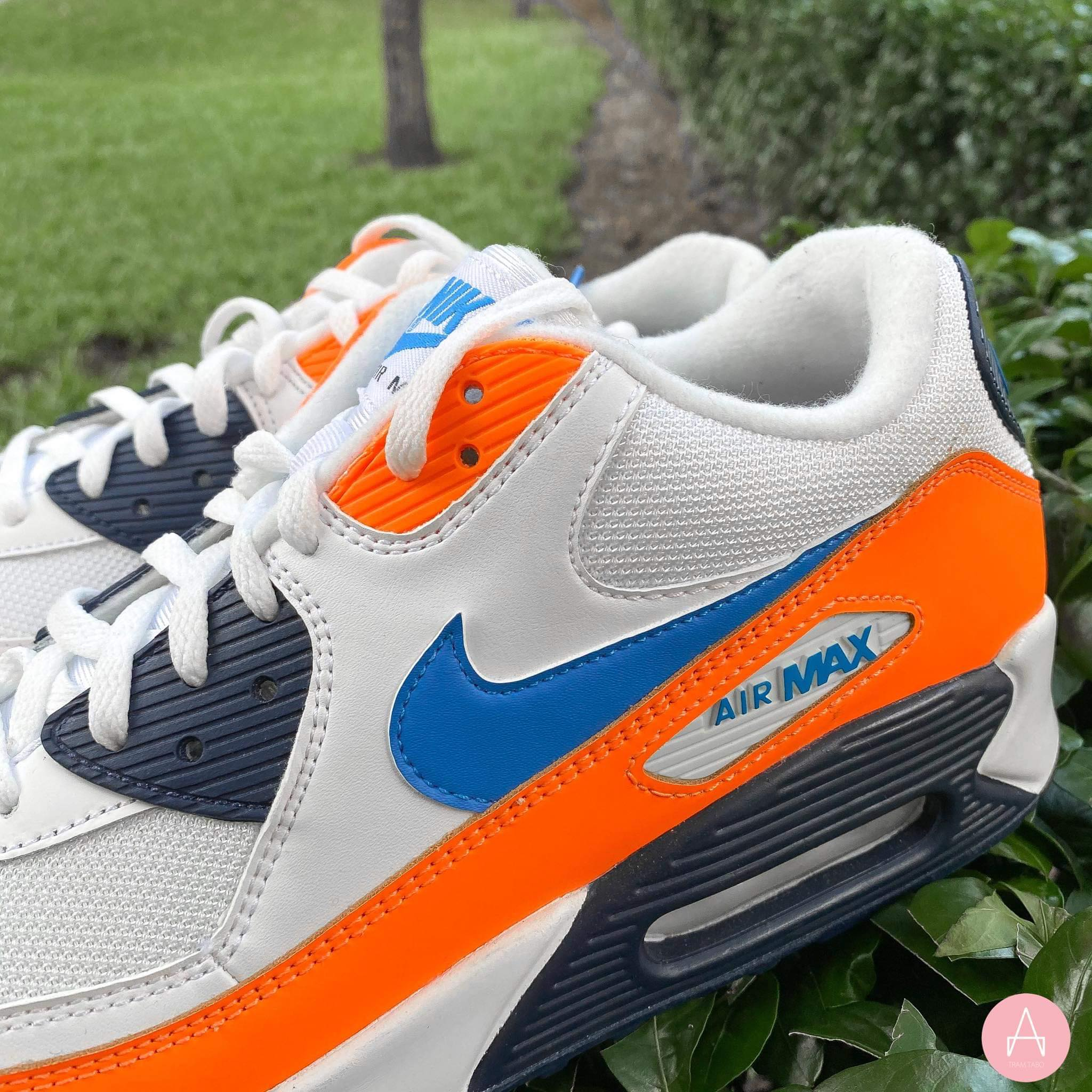 [AJ1285-104] M NIKE AIR MAX 90 LTR ORANGE BLUE