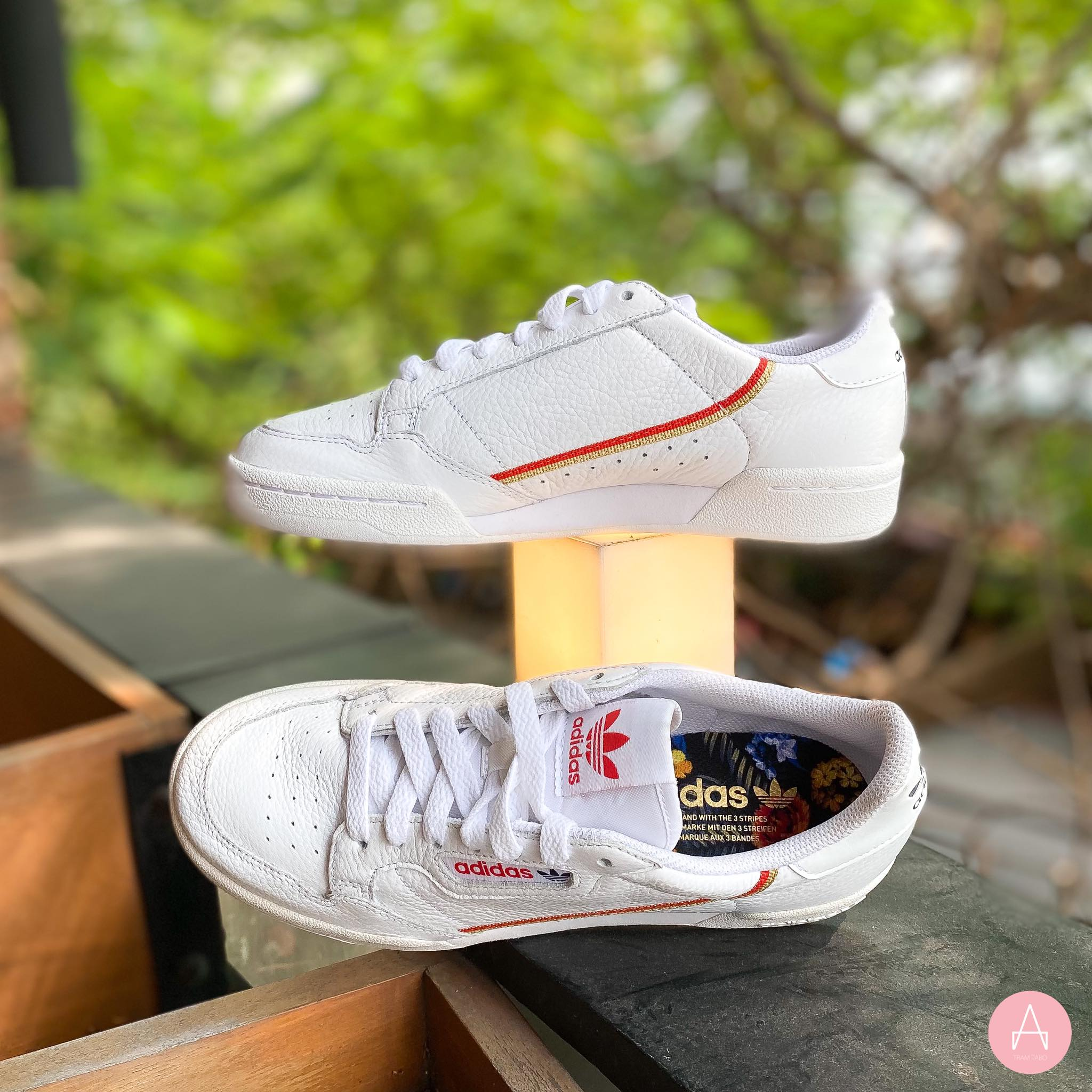 [EF1478] M ADIDAS CONTINENTAL 80 WHITE RED GOLD