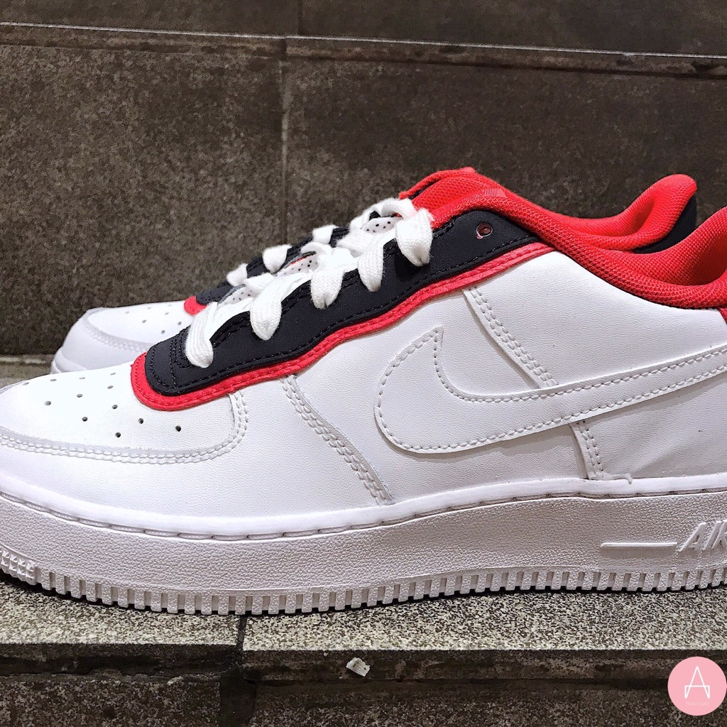 [BV1084-101] K NIKE AIR FORCE 1 LV8 DBL WHITE RED OBSIDIAN NAVY