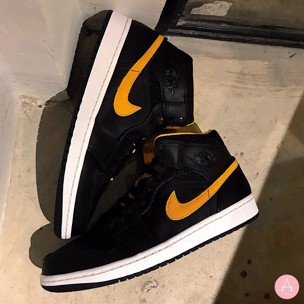 [CI9352-001] M NIKE AIR JORDAN I MID SE BLACK UNIVERSITY GOLD