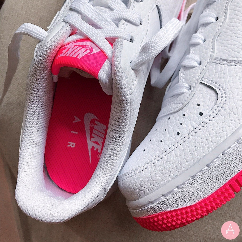 [AO2296-101] K NIKE AIR FORCE 1 WHITE RED PINK