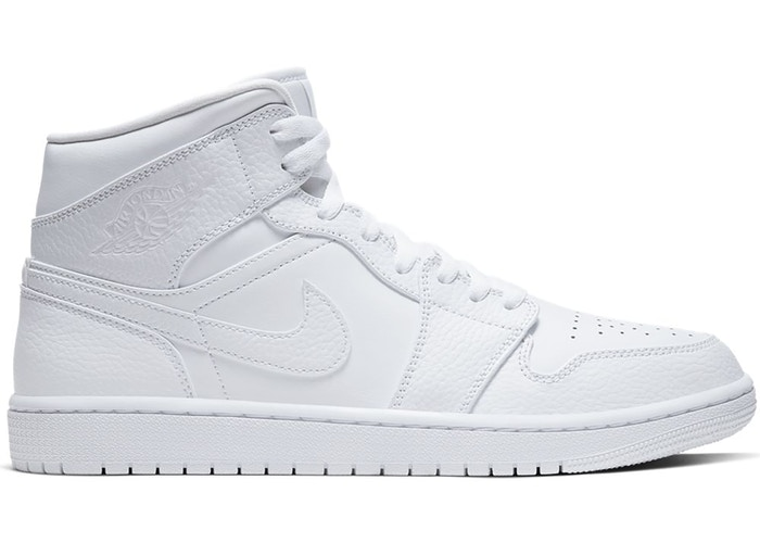 [554725-130] K JORDAN 1 MID TRIPLE WHITE 2.0 (2020)