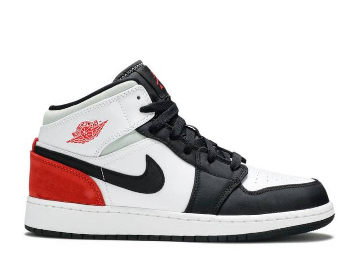 [BQ6931-100] K NIKE AIR JORDAN 1 MID SE WHITE BLACK RED SPRUCE