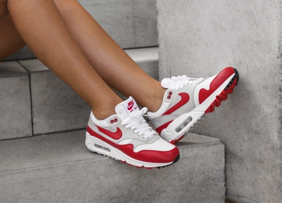 [AJ7695-100] M NIKE AIR MAX 90/1 WHITE RED