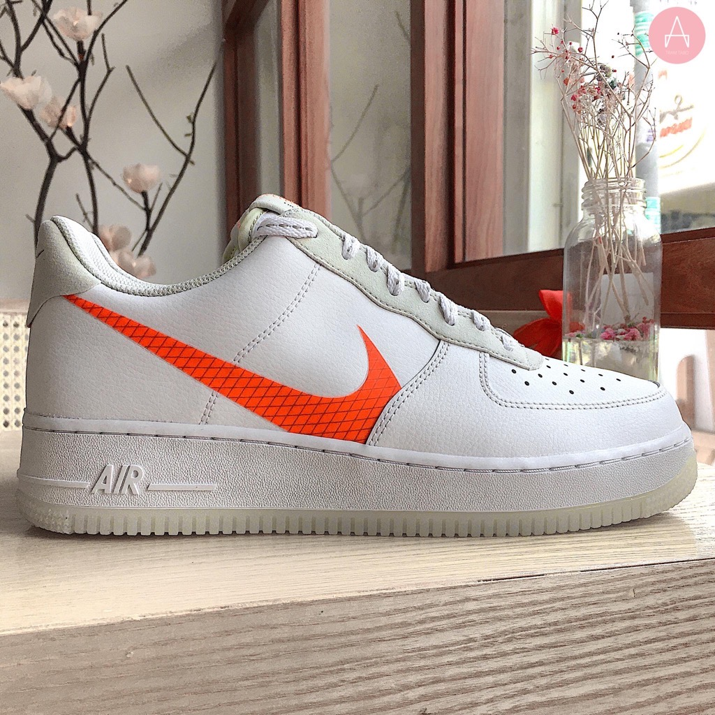 [CD0888-100] M NIKE AIR FORCE 1 LOW WHITE ORANGE SWOOSH
