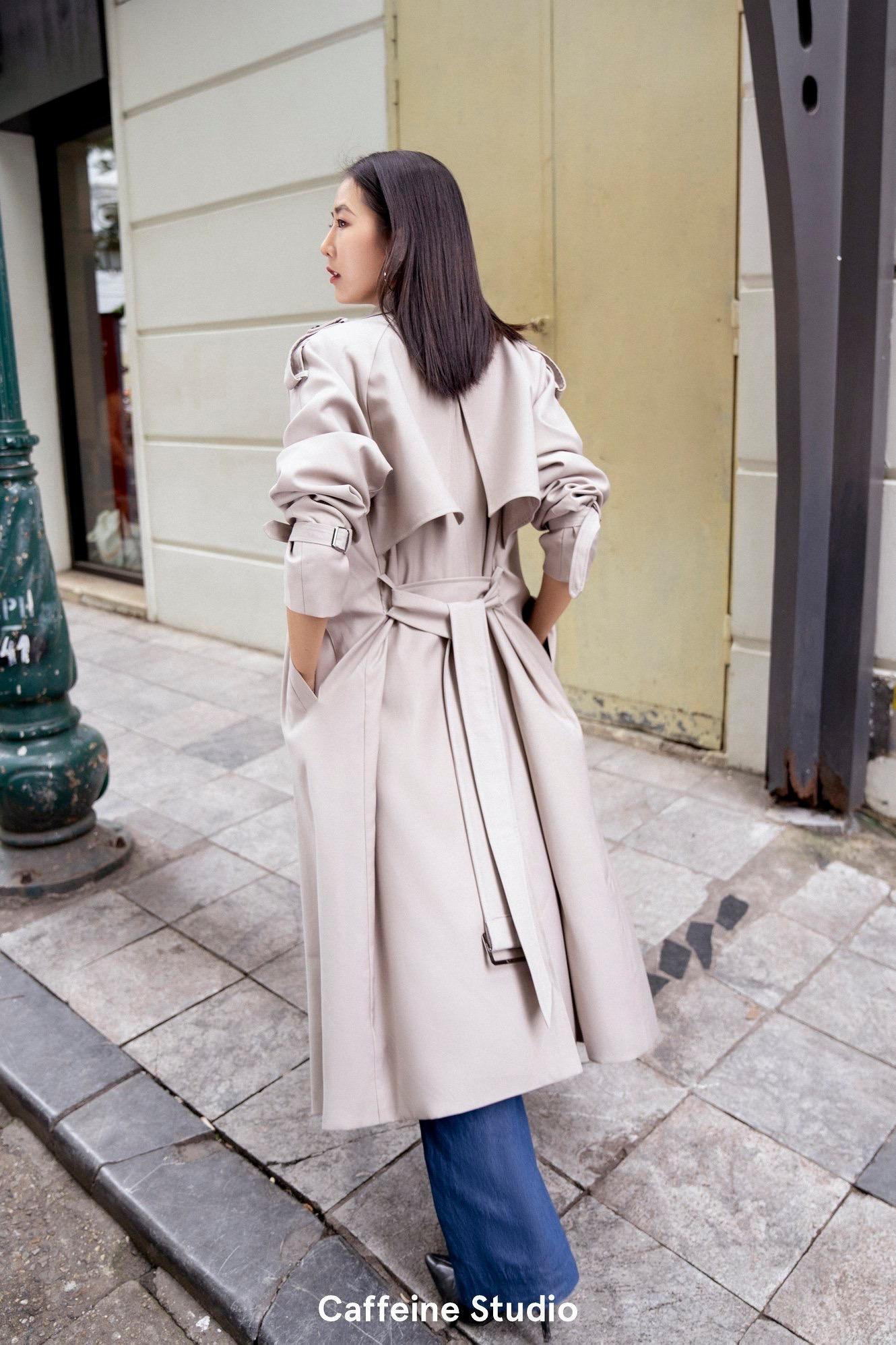 Long Trench Coat - Light Grey