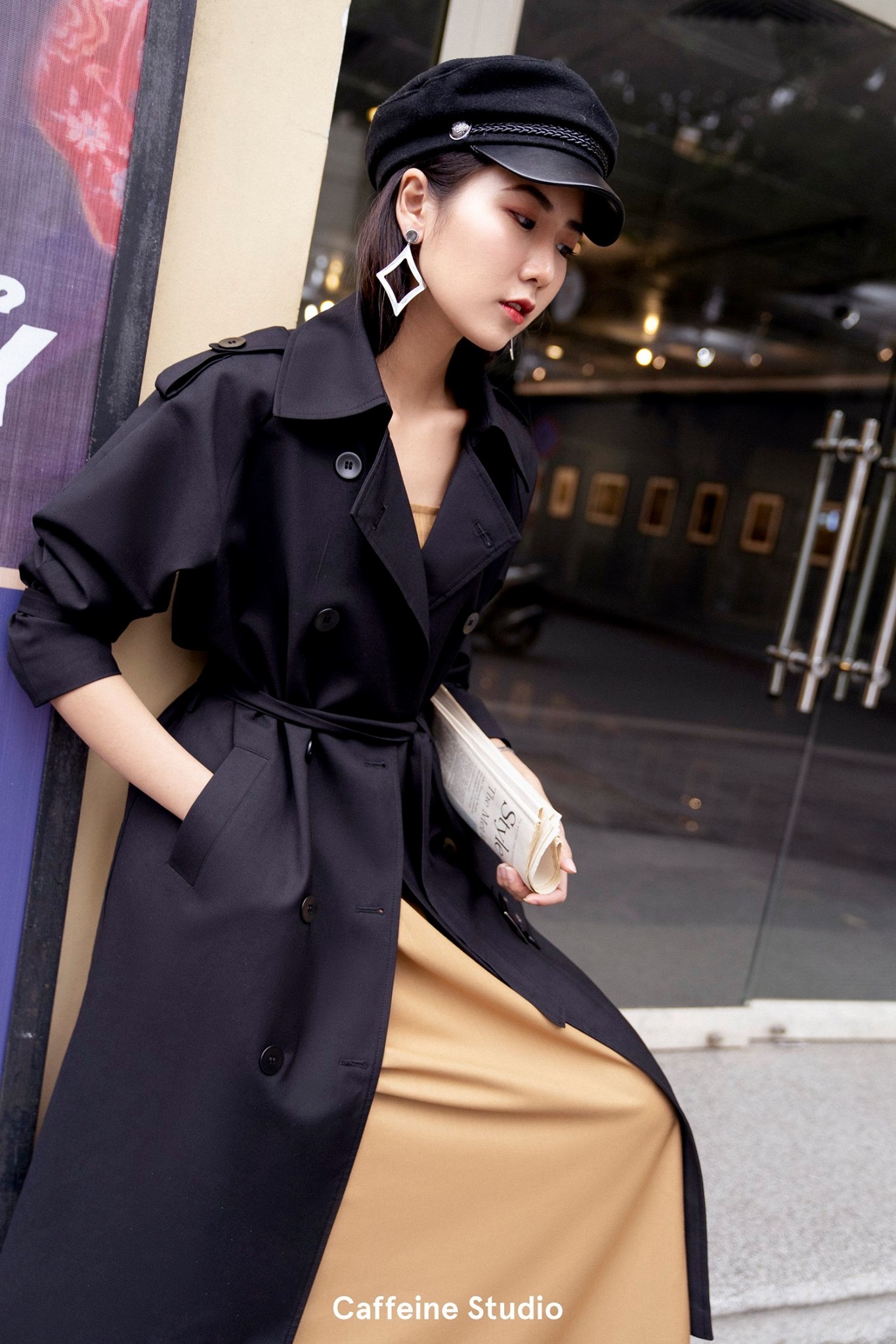 Long Trench Coat - Black