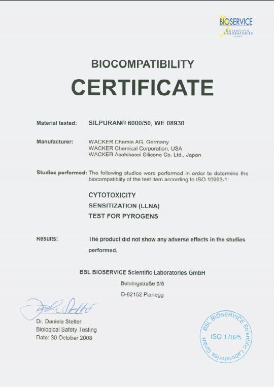 Giấy chứng nhận ISO 17025 của cốc nguyệt san Liberty Cup