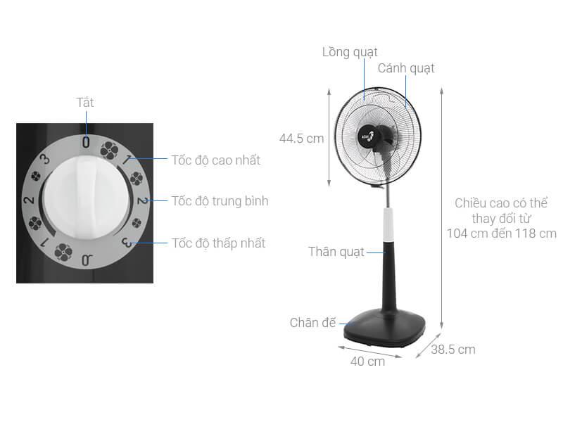 Thông số kỹ thuật Quạt đứng Asia D16022-DV0
