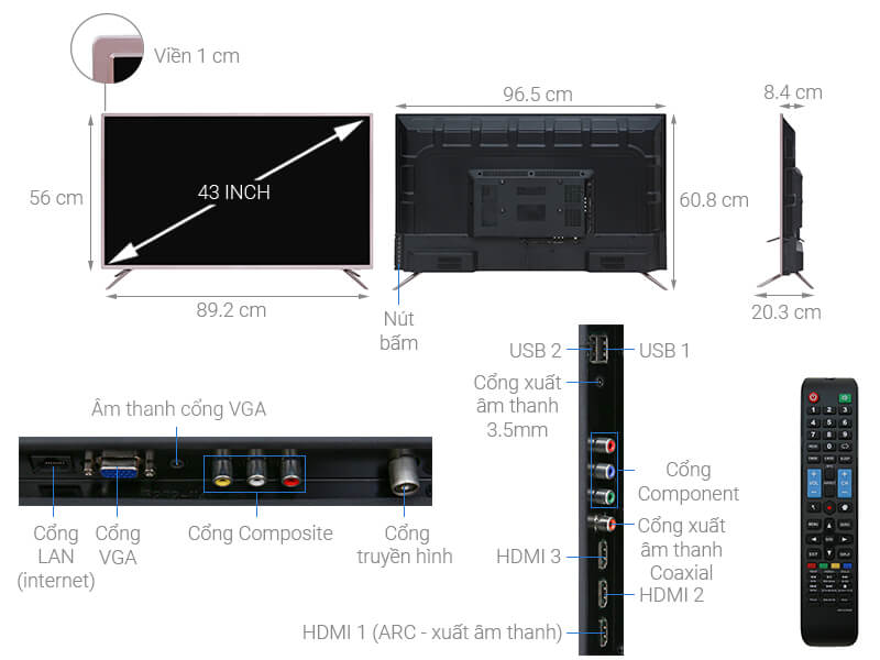 Thông số kỹ thuật Smart Tivi Mobell 43 inch 43S600A