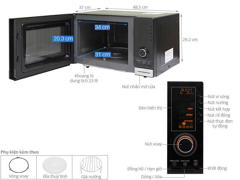 Thông số kỹ thuật Lò vi sóng Electrolux EMS2348X 23 lít
