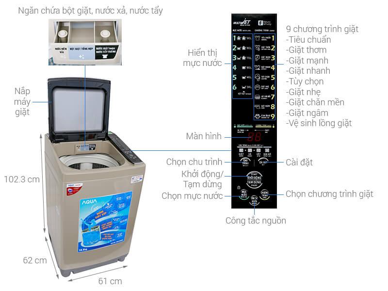 Thông số kỹ thuật Máy giặt Aqua 10.5 kg AQW-FW105AT N