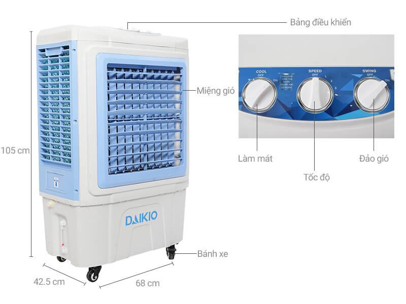 Thông số kỹ thuật Quạt điều hòa Daikio DK-5000C