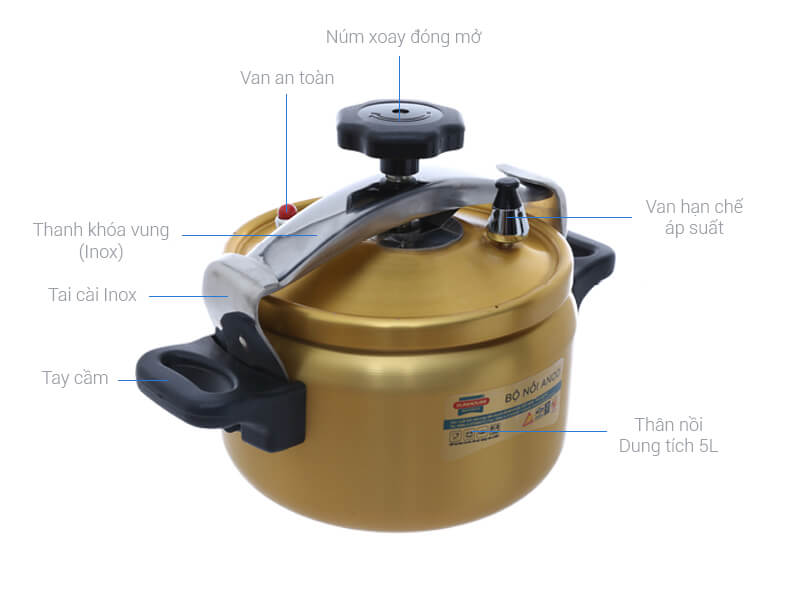 Thông số kỹ thuật Nồi áp suất cơ Sunhouse SHA8504 5 lít